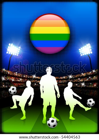 Gay Flag Button with Soccer Match in Stadium Original Illustration - stock vector