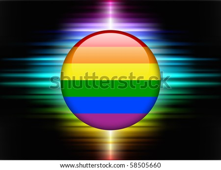 Gay Flag Icon Button on Abstract Spectrum Background Original Illustration - stock vector