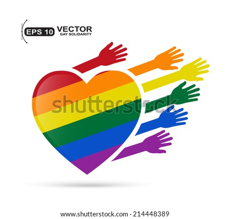 Gay flag in the form of heart with colored hands - stock vector