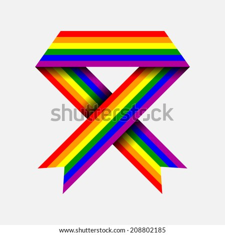 Gay flag, ribbon, vector illustration - stock vector