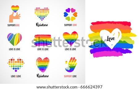 Gay LGBT Collection Symbols Ic...