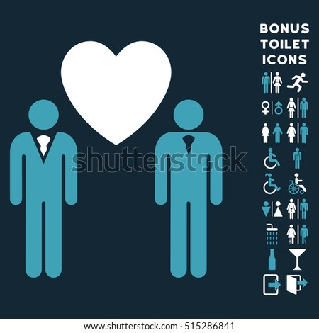 Gay Lovers icon and bonus gentleman and female lavatory symbols. Vector illustration style is flat iconic bicolor symbols, blue and white colors, dark blue background.