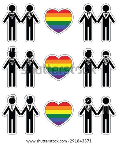 Gay man grooms icon set with rainbow element   - stock vector