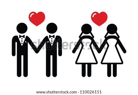Gay marriage icons set - stock vector