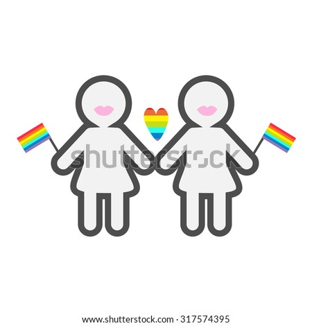 Gay marriage Pride symbol Two contour women with lips and  flags LGBT icon Rainbow heart Flat design Vector illustration - stock vector