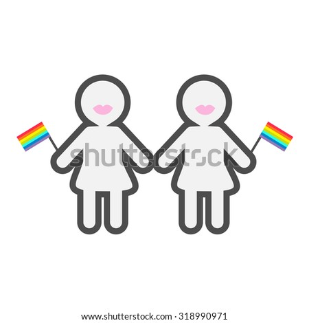 Gay marriage Pride symbol Two contour women with lips and rainbow flags LGBT icon Flat design Vector illustration - stock vector