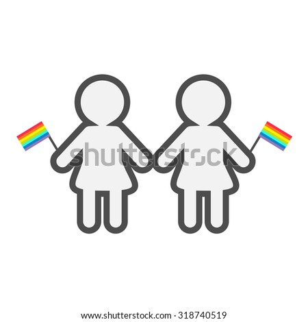 Gay marriage Pride symbol Two contour women with rainbow flags LGBT icon Flat design Vector illustration - stock vector
