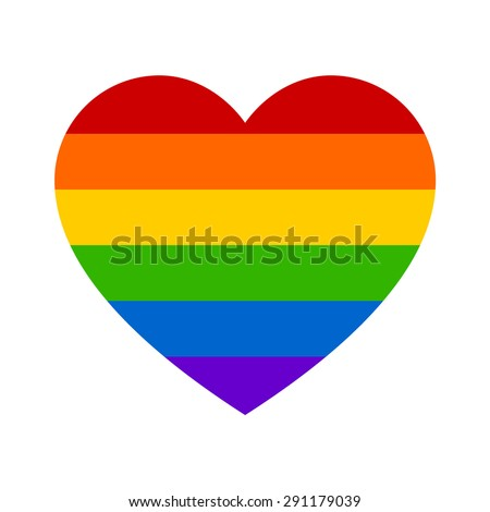 Gay marriage rainbow heart flat icon for apps and websites - stock vector