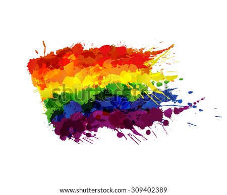 Gay or LGBT flag made of colorful splashes - stock vector