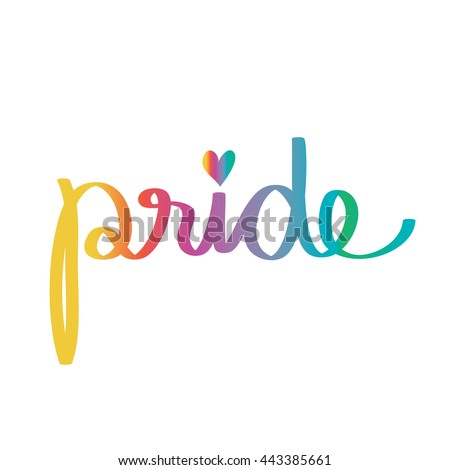 """Gay pride. Text in colorful gradient. Hand drawn """"pride"""" isolated on white background. LGBT pride. """"Pride"""" with a little colorful heart - stock vector"""
