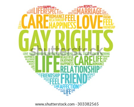 Gay rights concept heart word cloud - stock vector