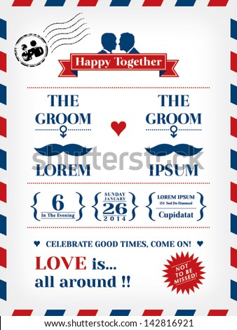 Gay Wedding Invitation Template in Postcard and Air mail style - stock vector