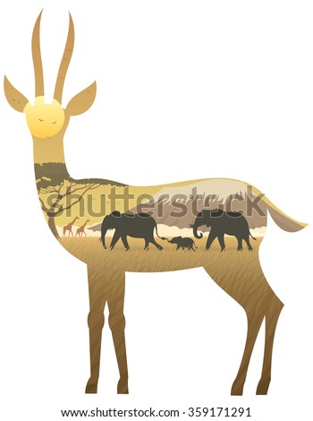 Gazelle Landscape: African landscape in silhouette of gazelle. No transparency used. Basic (linear) gradients used.  - stock vector