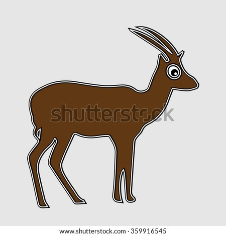 Gazelle silhouette cartoon illustration. Gazelle isolated symbol. Brown animal drawing. - stock vector