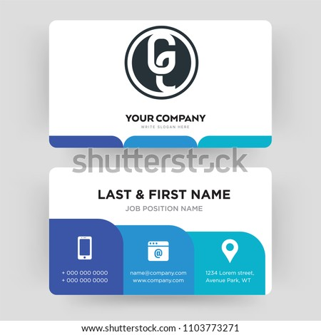 ge white business card design template stock vector royalty free