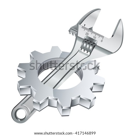 gear and adjustable wrench - stock vector
