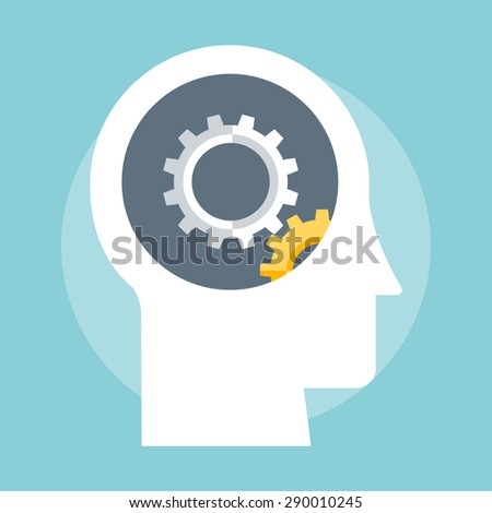 Gear and Head flat style, colorful, vector icon for info graphics, websites, mobile and print media. - stock vector