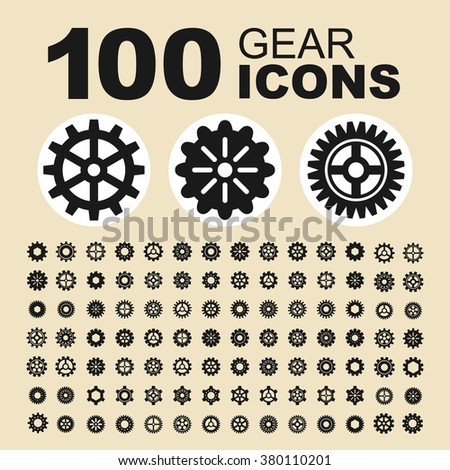Gear and industry icons. Machine pictogram. Cogwheel vector graphic. Mechanism design collection.