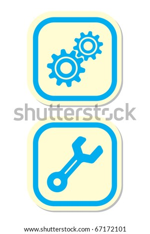 Gear and Wrench Icons - stock vector