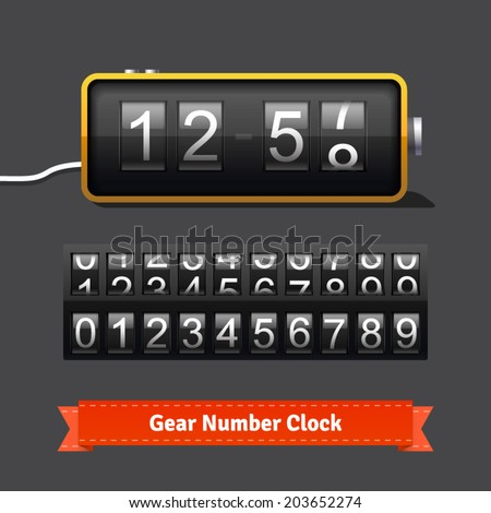 Gear Clock Number Counter Template All Stock Vector