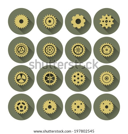 Gear Cog Icon Set with Long Shadow - Vector Graphic - stock vector