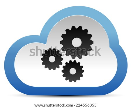Gear, cogwheel composition in cloud. Maintance, development. Cloud technology. Vector icon. - stock vector