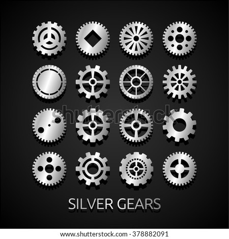 Gear collection machine collection of vector cogwheel and gears - stock vector