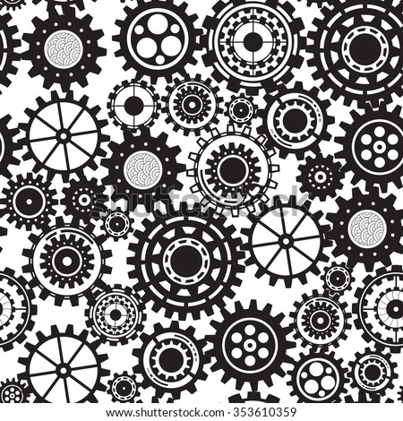 gear collection machine gear wheel cogwheel vector, set of gear wheels, collection of vector gear Seamless Pattern