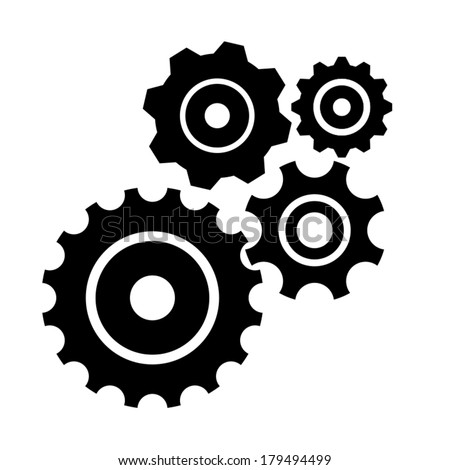 Gear collection. Set of vector gear wheels. Black cogs on white background  - stock vector
