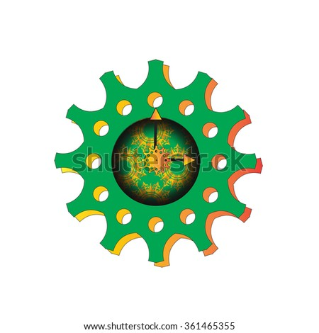 gear design, cog and clock - stock vector