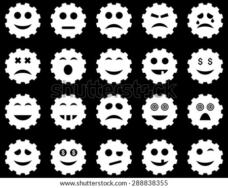 Gear emotion icons. Vector set style: flat images, white symbols, isolated on a black background.