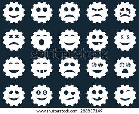 Gear emotion icons. Vector set style: flat images, white symbols, isolated on a dark blue background.