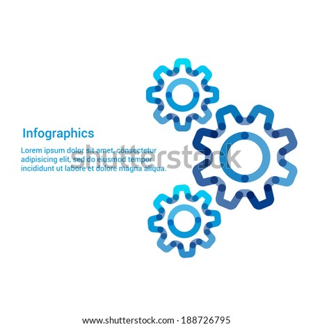 Gear flat line icon infographic illustration template for web or brochure. Vector illustration. - stock vector