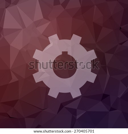 Gear icon in flat style for web and mobile, modern minimalistic flat design. Vector white icon on abstract polygonal background - stock vector