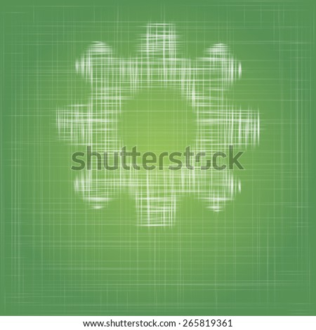 gear icon on eco green cotton fabric vector background