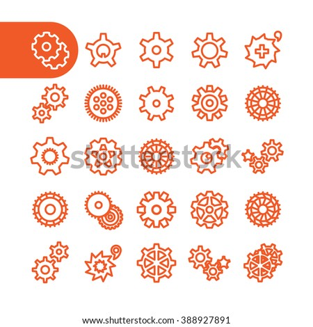 Gear Icon set for web and mobile. Modern minimalistic flat design elements - stock vector