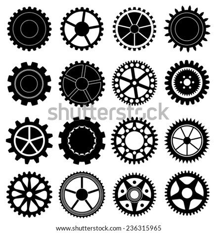 Gear icons set - stock vector