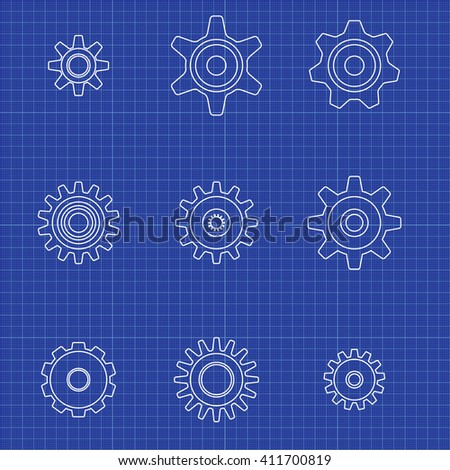 Gear icons set on graph paper. Vector blueprint. - stock vector