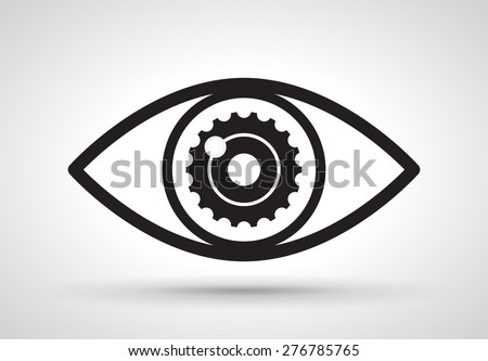 Gear in eye, vector - stock vector