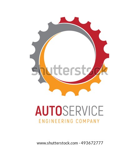 Gear logo template logotype heavy industry stock vector for Design and engineering companies