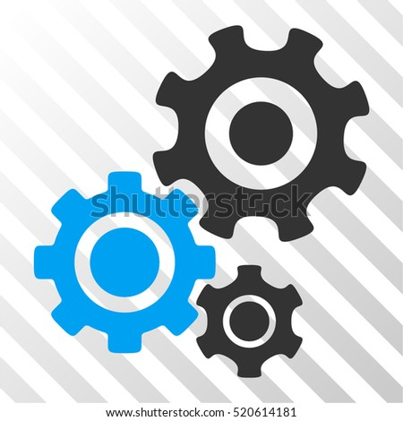 Gear Mechanism vector pictograph. Illustration style is flat iconic bicolor blue and gray symbol on a hatched transparent background.