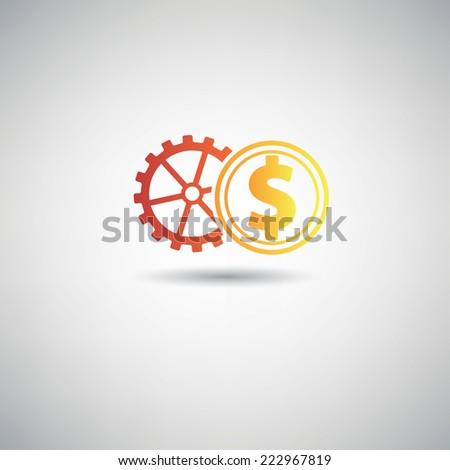 Gear money symbol,clean vector - stock vector