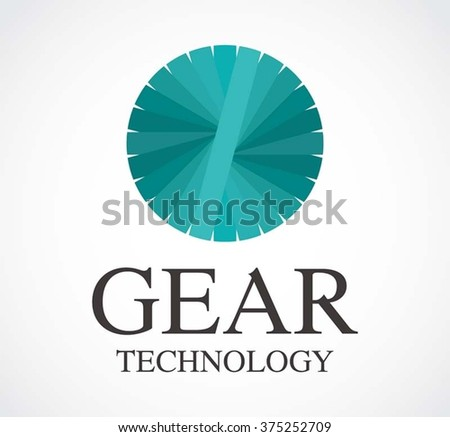 Gear motion of technology circle abstract vector and logo design or template glossy mechanical business icon of company identity symbol concept - stock vector