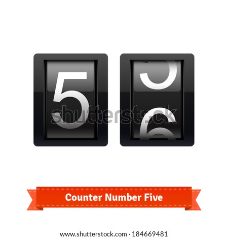 Gear number counter template for number five. Highly editable EPS10 interface elements. - stock vector