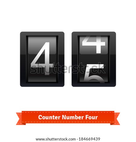 Gear number counter template for number four. Highly editable EPS10 interface elements. - stock vector