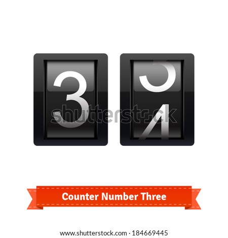 Gear number counter template for number three. Highly editable EPS10 interface elements. - stock vector