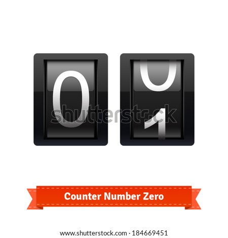 Gear number counter template for zero digit. Highly editable EPS10 interface elements. - stock vector