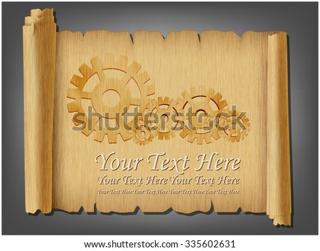 Gear on old scroll - stock vector