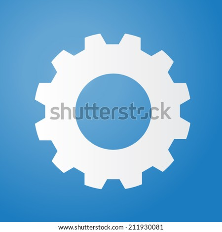 Gear or cog vector illustration on a blue background. - stock vector
