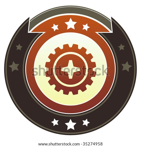 Gear or settings icon on round red and brown imperial vector button with star accents suitable for use on website, in print and promotional materials, and for advertising. - stock vector